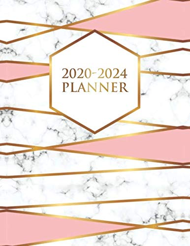 2020-2024 Planner: Abstract Gold Lined 5 Year Monthly Planner & Organizer with 60 Months Spread View Calendar. Pretty Grey Marble & Pink Five Year Agenda & Business Schedule Notebook.