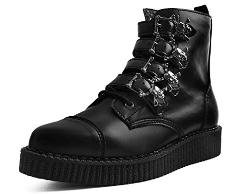 T.U.K. Shoes A9409 Unisex-Adult Boots, Black TUKskin Skull Buckle Pointed Boot - US: Mens 5 / Womens 7 / Black/Synthetic
