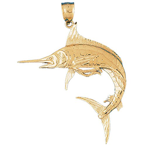 14K Yellow Gold Marlin Pendant - 64 mm 14k Yellow Gold Marlin