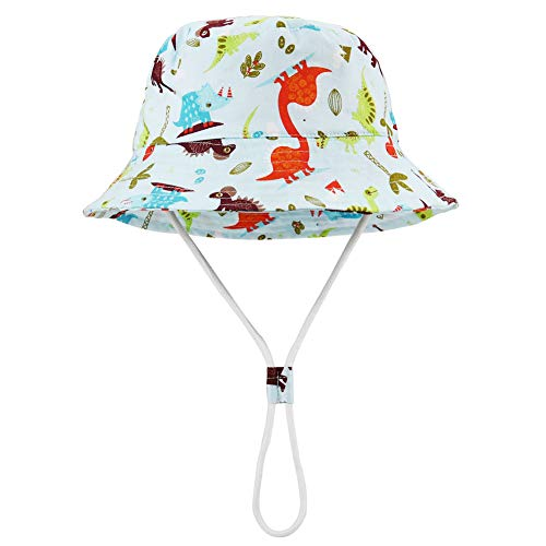- Baby Sun Hat with Chin Strap - Unisex Toddler Summer Beach Pool Play Bucket Hat UPF 50+ Reversible Brim(Colored Dinosaur,52cm)