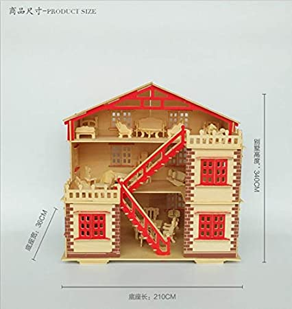 Big House NWFashion 17 Wooden Dream Dollhouse 2 Floors DIY Kits Miniature Doll House With Furniture