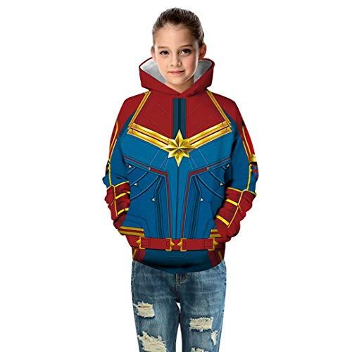 (Szytypyl Boys Girls Kids Superhero Captain Carol's Suit Costume Fashion Hoodies 3D Print)