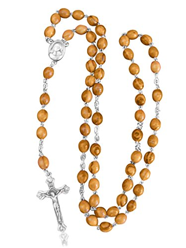 Olive Wood Rosary with Silver plated Crucifix and Soil - (Rosary Silver Plated Crucifix)