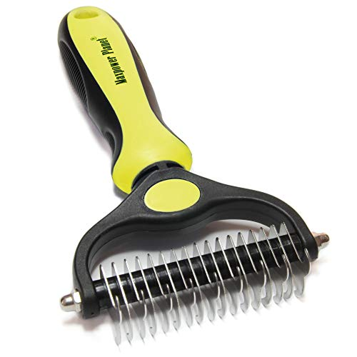 Maxpower Planet Pet Grooming Brush – Double Sided Shedding and Dematting Undercoat Rake Comb for Dogs and Cats,Extra…