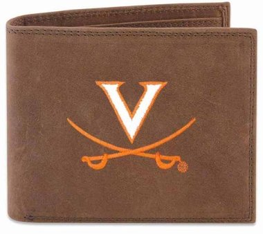 ZEP-PRO NCAA Virginia Cavaliers Men's Crazy Horse Leather Pass Case Embroidered Wallet, Light Brown, One Size ()