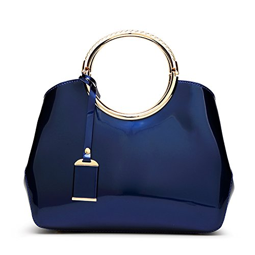 Hoxis Charm Glossy Metal Grip Structured Shoulder Handbag Womensh Satchel