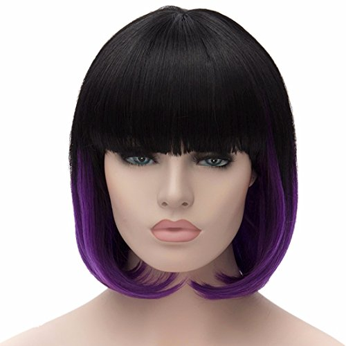 Black Amp Purple Mixed Women Short Straight Bob Wigs Cosplay