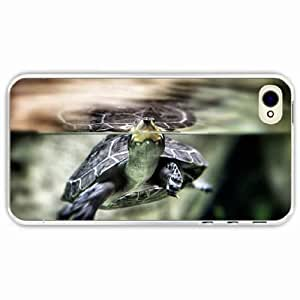 iPhone 4 4S Black Hardshell Case turtle water swim shell Transparent Desin Images Protector Back Cover