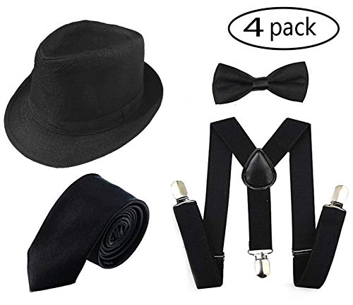 1920s Men Accessory Set Manhattan Hat, Y-Back Suspenders, Pre Tied Bow Tie,Gangster Tie for Theme Party, Halloween (Black)