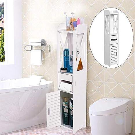 SOULONG Armarios de Suelo para Baño con 3 Estantes Multifuncional Organizador de Ahorro de Espacio de Baño: Amazon.es: Hogar