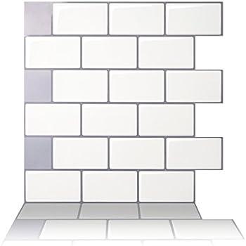 "Tic Tac Tiles - Premium Anti Mold Peel and Stick Wall Tile in Subway Design (12""x12"" 10 sheets, Mono White)"