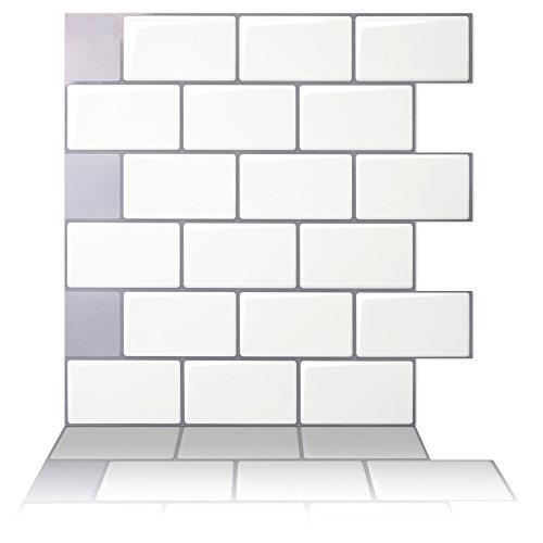 Tic Tac Tiles - Premium Anti Mold Peel and Stick Wall Tile in Subway Design (12''x12'' 10 Sheets, Mono White) by Tic Tac Tiles