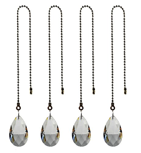 Teardrop Ceiling Fan Pull Chain - Hyamass 4pcs Crystal Teardrop Prisms Pendant Ceiling Fan Pull Chain Extender with Ball Chain Connector