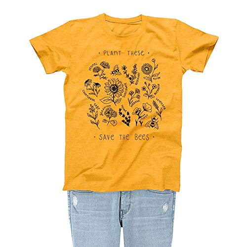 Rocksir Plant These Save The Bees Theme Women Lovely Summer Yellow T-Shirt Girl TEES(S Bees 3)