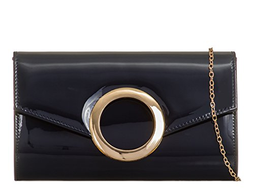 Handbags Bag Purse Ring Navy Bridal Leather Wedding Women's Faux mate's LeahWard Clutch Patent Bridal zwgHxAInqU