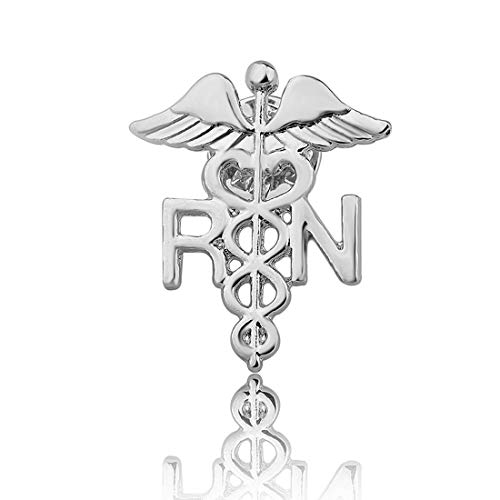 Zuo Bao Nurse Jewelry RN Brooch Label Pin Registered Nurse Emblem Pin Medicine Caduceus Angel Nursing Gift for Doctor Nurse (RN PIN ()