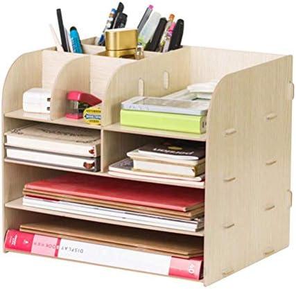 AGWa A4 Schreibtisch File Organizer, Datei Halter Magazin Datei Zahnstangen-Halter, Schreibtisch Tray Briefablage, Multi-Funktions-Holz Bürobedarf Desktop-Multi-Layer-A,A