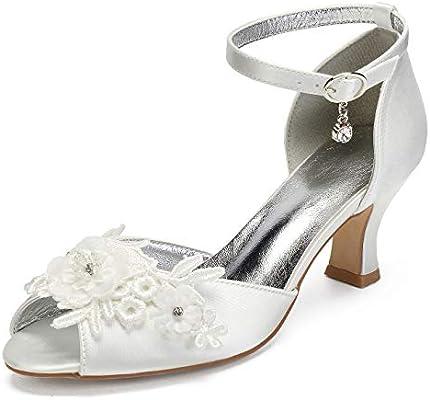 Seraph 6571 2 Women Peep Toe Bridal Shoes Kitten Heel Ankle Strap