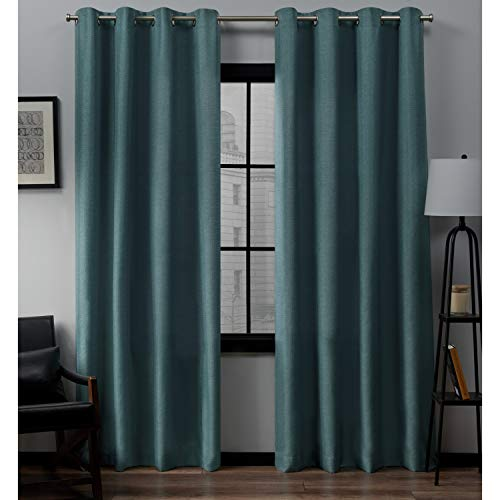 Exclusive Home Curtains Loha Linen Window Curtain Panel Pair with Grommet Top, 54x108, Blue Teal, 2 Piece (Teal Grommet Curtains)