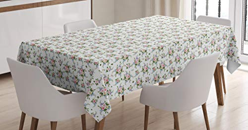 Lunarable Garden Art Tablecloth, Romantic Bouquet of Roses and Freesia Arrangement Floral Nostalgic Composition, Dining Room Kitchen Rectangular Table Cover, 60 W X 90 L Inches, Multicolor (Freesia Bouquet Wedding)
