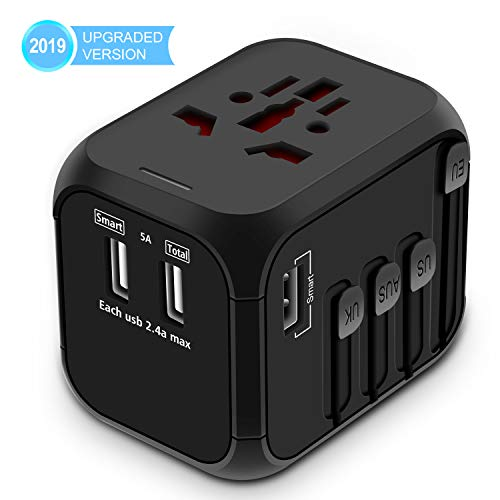 Upgraded Universal Travel Adapter, All-in-one International Power Adapter with 4 USB Ports, European Adapter Travel Power Adapter Wall Charger for UK, EU, AU, Asia Covers 150+Countries