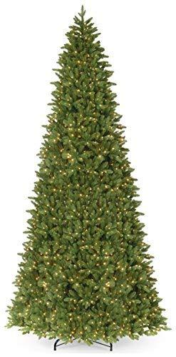 National Tree 14 Foot Feel Real Ridgewood Spruce Slim Tree with 1300 Clear Lights, Hinged (PERG4-315-140) -  ADULT