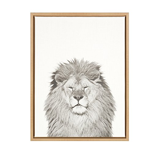 Kate and Laurel - Sylvie Lion Animal Print Black and White Portrait Framed Canvas Wall Art by Simon Te Tai, Natural -
