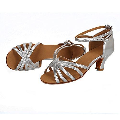 Medio Latino Baile Tacón Alto 5cm Zapatos Plata de tacón Mujer de para VASHCAME qwCfB1p4