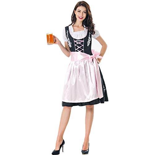 Game Of Thrones Costumes Embroidery - DLINF Women Oktoberfest Dirndl Dress Retro