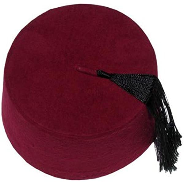 Red Fez Hat Moroccan Turkish Hat Party Fancy Dress with Black Tassel Dia 9CM Hat