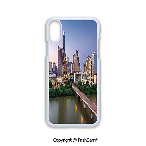 Plastic Rigid Mobile Phone case Compatible with iPhone X Black Edge Austin Texas American City Bridge Over The Lake Skyscrapers USA Downtown Picture 2D Print Hard Plastic Phone Case ()
