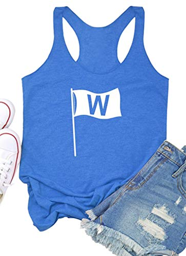 Womens Win Flag Graphic Racerback Tank Tops Funny Chicago Sleeveless Tank Tops 4th July Patriotic Vest Tees Blouse (X-Large, - Chicago Cubs Shirts Women