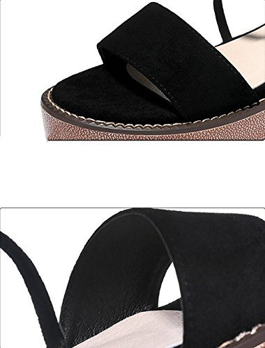 wild A Size sandals sandals thick A Sandals summer 35 women's simple Korean heels high flat female Flat Rome with shoes sandals shoes Fashion Color ngqF00
