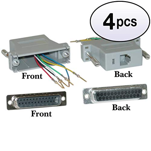 GOWOS (4 Pack) Modular Adapter, Gray, DB25 Male to RJ12 ()