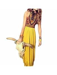 Summer Off Shoulder Women Sleeveless Yellow Long maxi Dress party evening new
