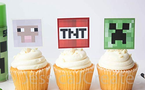 Minecraft Cupcake Toppers - Minecraft Creeper Cupcake Toppers - Minecraft Sheep - Minecraft TNT