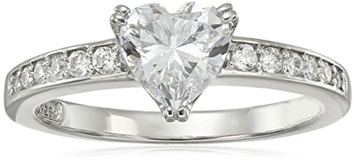 Platinum-Plated Sterling Silver Swarovski Zirconia Heart Ring, Size 5
