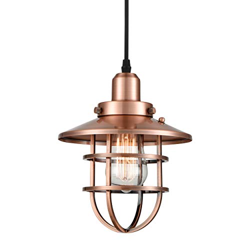 WILDSOUL 20021-AC Industrial Vintage Metal Pendant Light with Bulb, Antique Copper