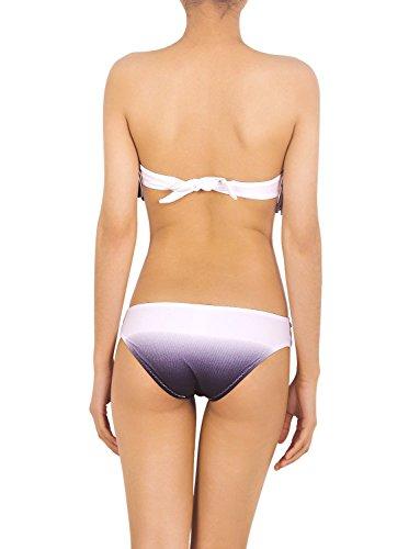 iB-iP Mujer Fringe Gradiente Bikini De poca altura Trajes de baño Negro