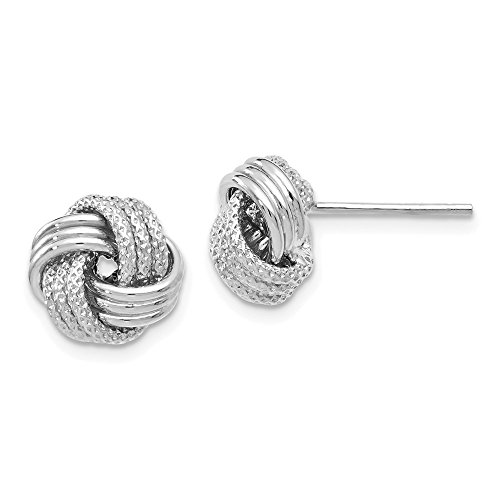 Best Birthday Gift Leslie's 14k White Gold Polished Textured Love Knot Earrings by Jewelry Brothers Earrings