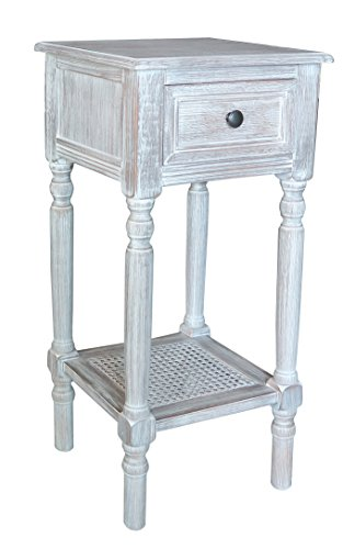 Winter Accent (Urbanest New Haven Accent Table with Drawer and Rattan Shelf, Winter Melody)