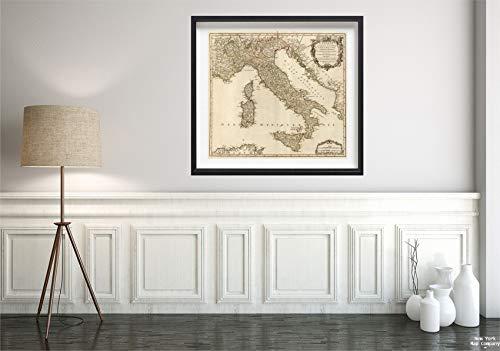 1750 Map|World Atlas L'Italie|Historic Antique Vintage Reprint|Size: 22x24|Ready to Frame