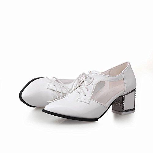 Carol Scarpe Moda Donna Lace-up Voile Mesh Stile Britannico Grosso Paio Di Scarpe Oxford Tacco Medio Bianco