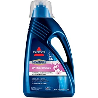 Bissell 2x Concentrated ADVANCED Powerful Cleaning Formula To Use In All Upright Deep Cleaning Machines On Carpet And Upholstery, Color Safe Formula In A Spring Breeze Scent, 62 fl oz