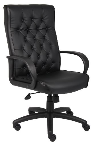 boss office products b8501bk button tufted executive chair in black - Tufted Desk Chair
