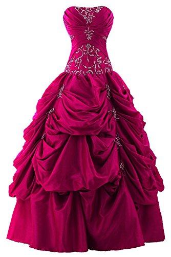 Fuchsia Taffeta Beading - Snowskite Women's Strapless Taffeta Applique Pick-up Quinceanera Dress Fuchsia 8