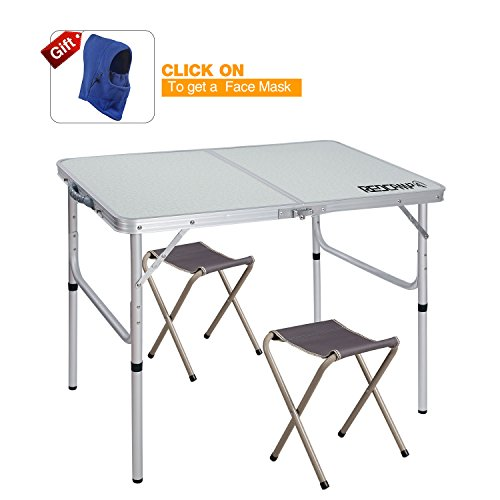 Aluminum Tables Chairs (REDCAMP Folding Camping Table Adjustable, Portable Picnic Table with 2 Chairs, Aluminum White 35.4