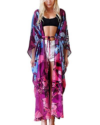 Women's Long Sheer Floral Kimono Cardigan, Chiffon Bikini Beach Cover up, Summer Blouse Loose Tops (B26-marble)