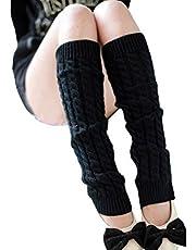 Vogholic Women's Thick Knitting Wool Leg Warmers Twisted Legging Socks, Black
