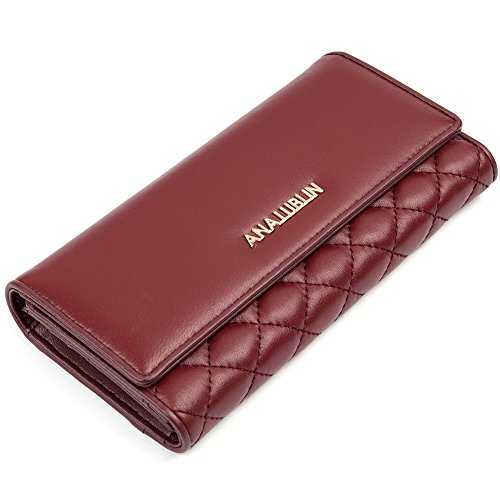 Women Lady Lambskin Long Wallet Purse Multi-card Holder Fashion Clutch Wine Red - ANA LUBLIN ()